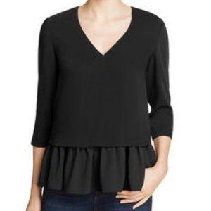 Cooper & Ella Renata Chiffon Trim V-Neck blouse